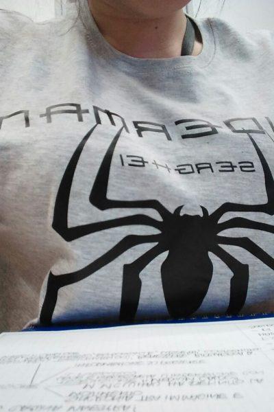 ABBIGLIAMENTO PERSONALIZZATO FELPE T-SHIRT t-shirt personalizzata fluo black and grey SPOSO ADDIO AL CELIBATO NUBILATO SPIDERNMAN